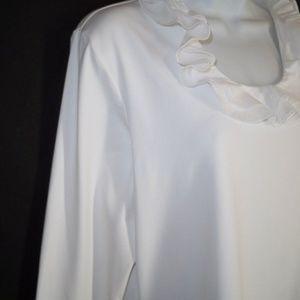 J. McLaughlin Tops - J. McLaughlin XL Catalina Cloth Ruffled White Top